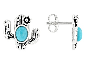 Childrens Turquoise Rhodium Over Silver Stud Earrings
