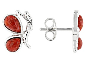 Red Coral Rhodium Over Silver Childrens Earrings