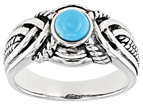 Mens Blue Sleeping Beauty Turquoise Rhodium Over Silver Ring