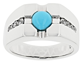 Mens Turquoise Rhodium Over Silver Ring .48ctw