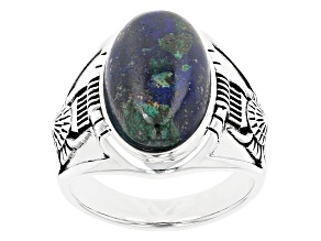 Blue Azurmalachite In Matrix Rhodium Over Silver Ring