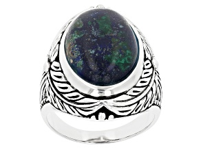 Mens Blue Azurmalachite In Matrix Rhodium Over Silver Ring