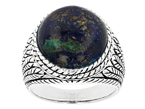 Mens Blue Azurmalachite In Matrix Rhodium Over Silver Ring