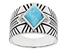 Mens Blue Turquoise Rhodium Over Silver Ring .05ctw