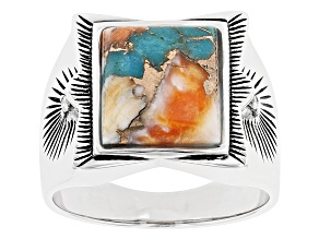 Mens Blended Turquoise And Spiny Oyster Shell Rhodium Over Silver Ring .04ctw