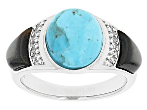 Turquoise Rhodium Over Silver Mens Ring .18ctw