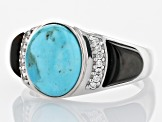Mens Turquoise Rhodium Over Silver Ring .18ctw