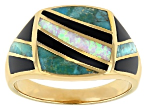 Lab Created Opal, Turquoise & Onyx 18k Yellow Gold Over Silver Inlay Men's  Ring