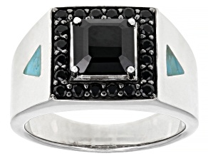 Mens Black Spinel and Turquoise Rhodium Over Silver Ring 2.86ctw