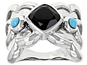 Black Spinel and Turquoise Rhodium Over Sterling Silver Ring 2.65ct