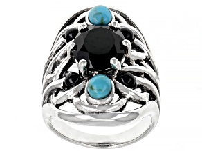 Black Spinel and Turquoise Rhodium Over Sterling Silver Ring 3.23ctw