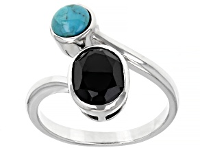 Black Spinel and Turquoise Rhodium Over Silver Bypass Ring 1.70ct