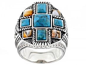 Mens Turquoise & Spiny Oyster Shell Rhodium Over Silver Ring