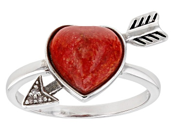 Picture of Red Sponge Coral and Three Diamond Rhodium Over Silver Bow and Arrow Ring