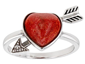 Red Sponge Coral and Three Diamond Rhodium Over Silver Bow and Arrow Ring