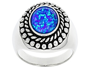 Mens Blue Lab Created Opal Rhodium Over Silver Ring .90ct