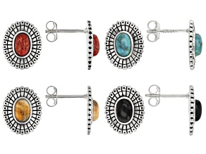 Turquoise, Shell, Coral, & Onyx Rhodium Over Silver Set of 4 Earrings