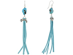 Turquoise Rhodium Over Sterling Silver & Imitation Leather Dangle Earrings