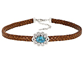 Turquoise & Lab Created Sapphire Rhodium Over  Silver Imitation Leather Choker 3.78ctw