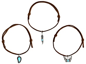Turquoise Imitation Leather & Rhodium Over Silver Charm Set of Bracelets