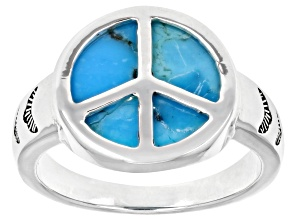 Turquoise Rhodium Over Sterling Silver Peace Sign Ring