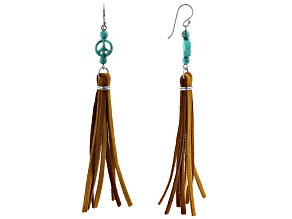 Turquoise Carved Peace Sign Rhodium Over Silver And Leather Dangle Earrings