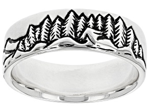 Mens Rhodium Over Sterling Silver Mountain Landscape Band Ring