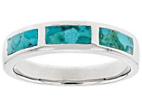 Mens Turquoise Rhodium Over Sterling Silver Band Ring