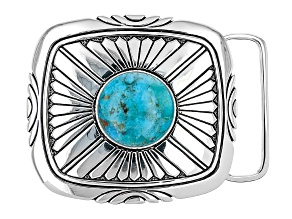 Blue Turquoise Silver Over Brass Belt Buckle