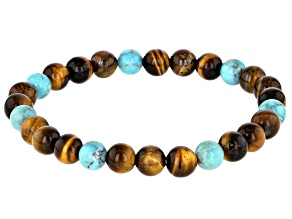 Brown 8mm Tigers Eye & Turquoise Mens Bead Stretch Bracelet