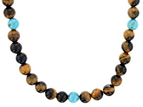Brown Tigers Eye & Turquoise Rhodium Over Silver Mens Necklace