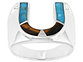 Brown Tigers Eye and Turquoise Rhodium Over Silver Mens Horseshoe Ring