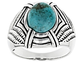 Mens Turquoise Rhodium Over Sterling Silver Ring