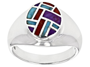 Blue And Purple Turquoise With Coral Rhodium Over Silver Inlay Ring