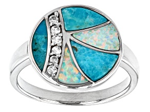 Turquoise Rhodium Over Silver Ring .10ctw