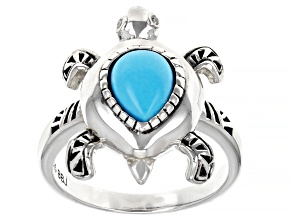 Sleeping Beauty Turquoise Rhodium Over Silver Turtle Ring 0.01ctw