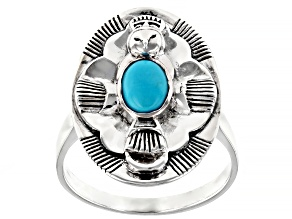Sleeping Beauty Turquoise Rhodium Over Silver Owl Ring