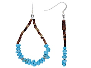 Sleeping Beauty Turquoise And Shell Bead Silver Earrings