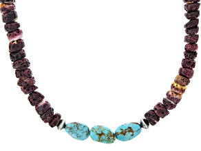 Purple Spiny Oyster Shell & Turquoise Silver Necklace