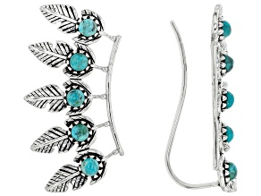 Turquoise Rhodium Over Silver Climber Earrings