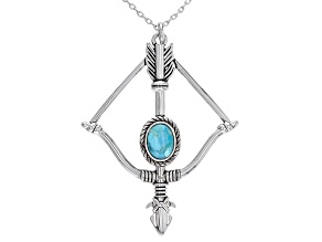 Turquoise Silver Tone Bow and Arrow Necklace