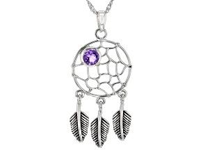Purple Amethyst Rhodium Over Silver Dreamcatcher Pendant 0.37ct