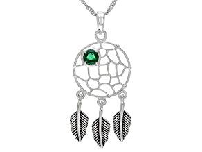 Green Lab Created Emerald Rhodium Over Silver Pendant 0.36ct