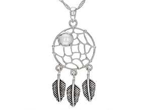 Cultured Freshwater Pearl Rhodium Over Silver Dreamcatcher Pendant