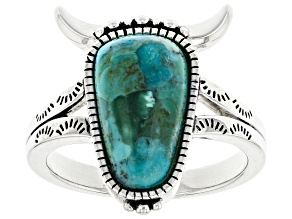 Turquoise Rhodium OverSterling Silver Steer Head Ring