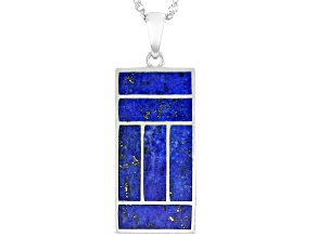 """Blue Lapis Lazuli Sterling Silver Pendant with 18"""" Chain"""