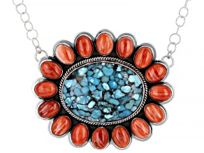 Turquoise And Spiny Oyster Shell Rhodium Over Silver Necklace