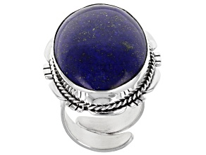 Blue Lapis Rhodium Over Silver Statement Ring