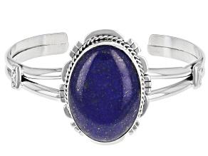 Blue Lapis Rhodium Over Silver Cuff Bracelet