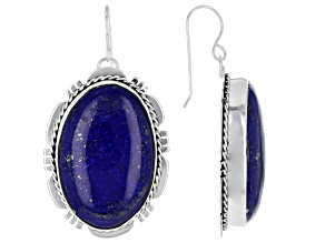Blue Lapis Rhodium Over Silver Earrings